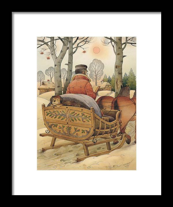 Christmas Gretting Card Winter Books Lanscape Snow White Holiday Framed Print featuring the painting Christmas Eve by Kestutis Kasparavicius