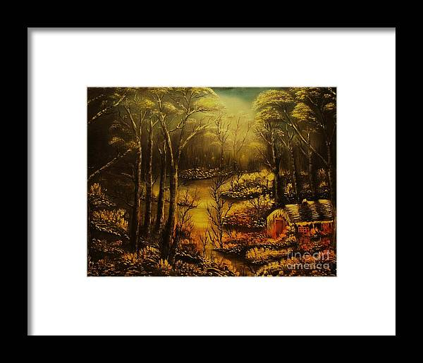 Landscape Framed Print featuring the painting Christmas Eve Mood- Original Sold-buy Giclee Print Nr 34 Of Limited Edition Of 40 Prints by Eddie Michael Beck