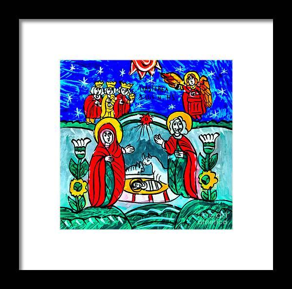 Christmas Framed Print featuring the mixed media Christmas Icon Religious Naive Folk Art Nativity by Daliana Pacuraru