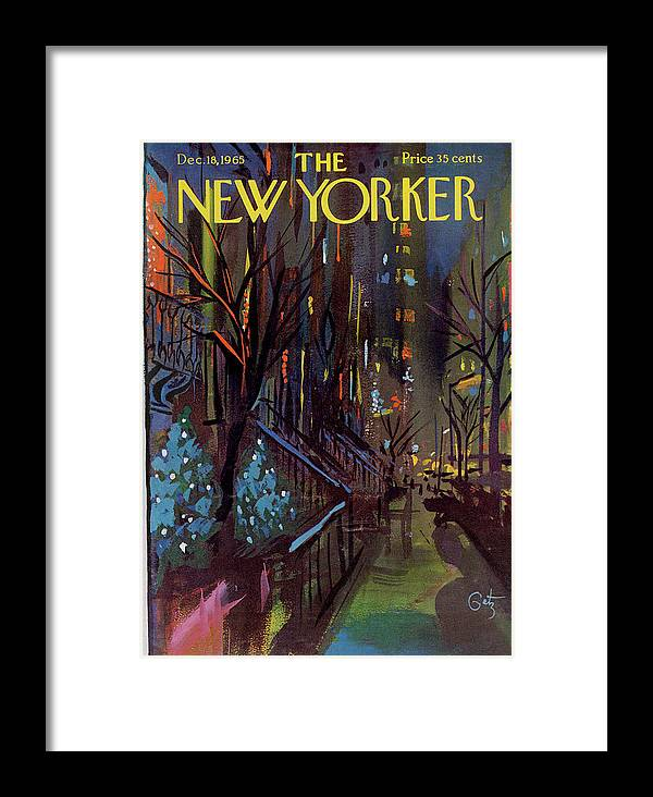 Christmas Framed Print featuring the painting Christmas In New York by Arthur Getz
