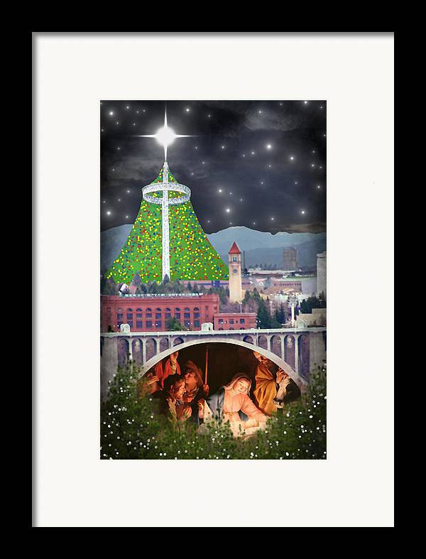 Christmas Framed Print featuring the digital art Christmas In Spokane by Mark Armstrong