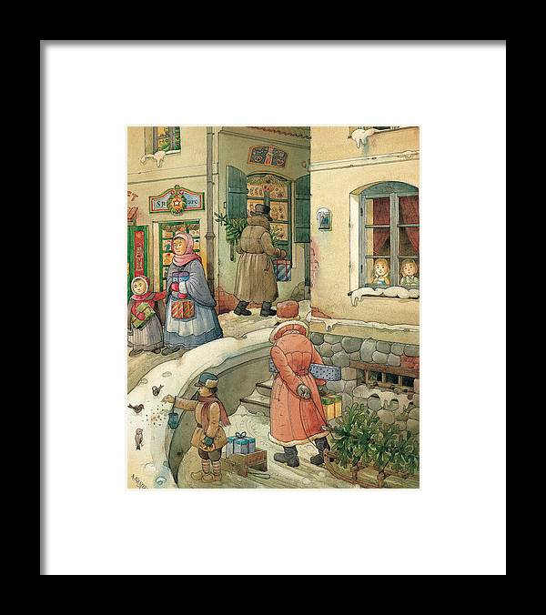 Christmas Greeting Cards Season Winter Snow Holiday Framed Print featuring the painting Christmas in the Town by Kestutis Kasparavicius