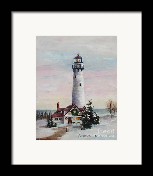 Lighthouse Framed Print featuring the painting Christmas Light by Brenda Thour
