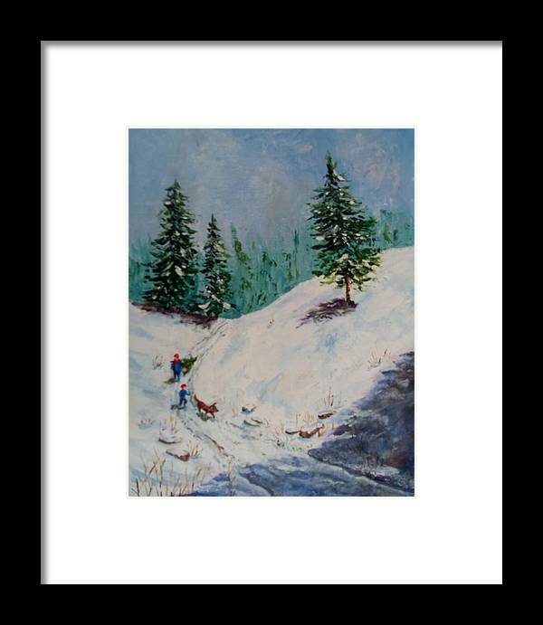 Snow Framed Print featuring the painting Christmas Tree Harvest by Joan Mace