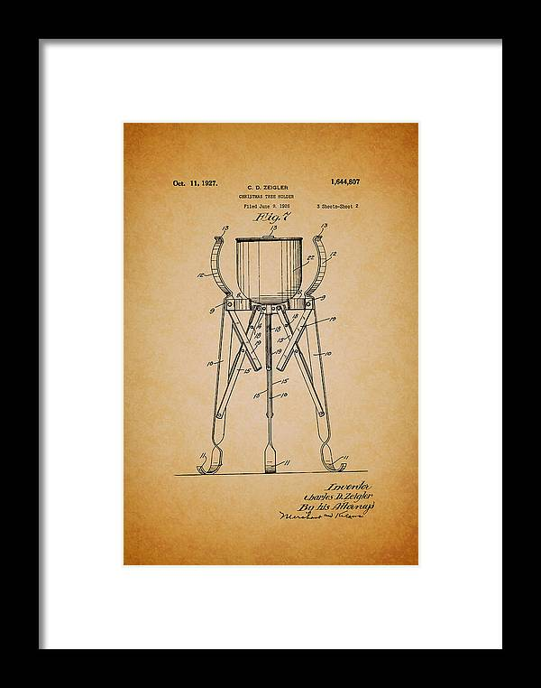 Patent Framed Print featuring the drawing Christmas Tree Holder Patent 1927 by Mountain Dreams