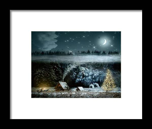 Fantasy Framed Print featuring the painting Christmas Trees Horses by Tian Chen