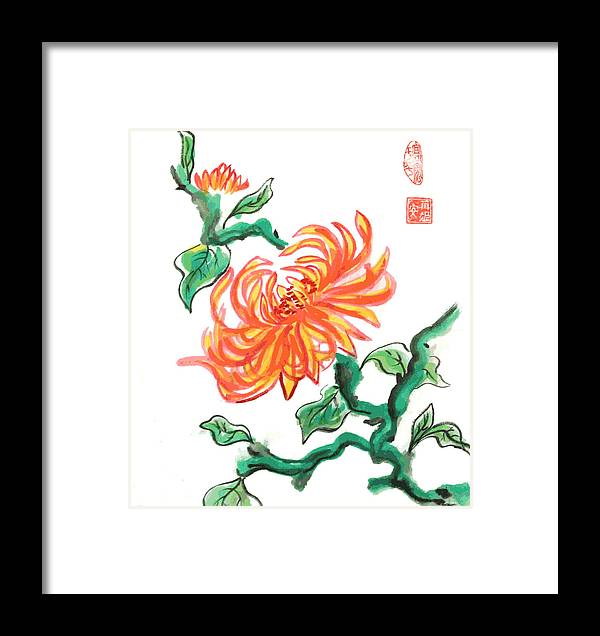 Chrysanthemum Framed Print featuring the mixed media Chrysanthemum 2 by Ren Adams