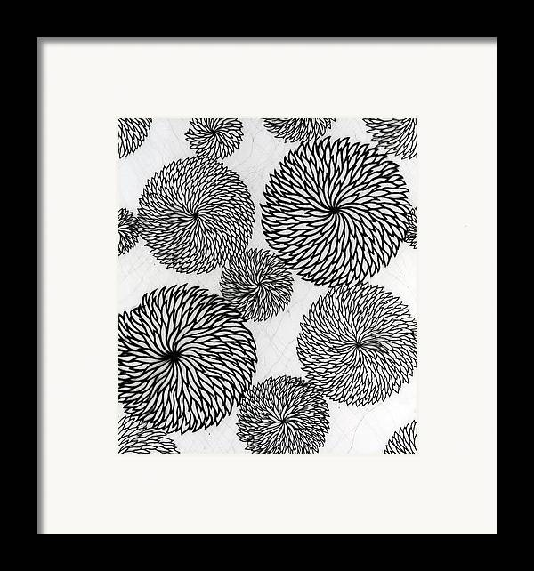 Chrysanthemum Framed Print featuring the tapestry - textile Chrysanthemums by Japanese School