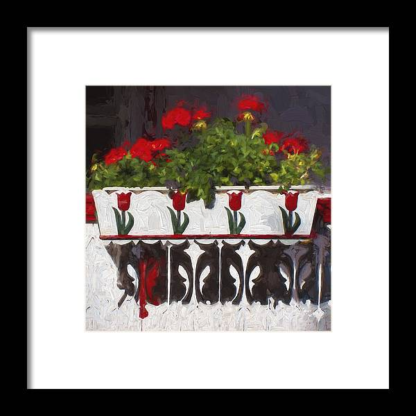 Red Framed Print featuring the photograph Church Camp House Detail Painterly Series 6 by Carol Leigh