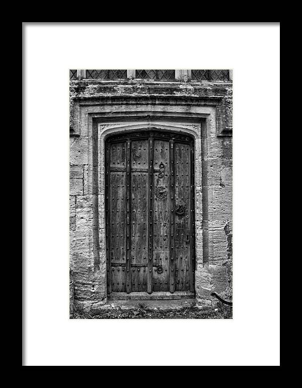 Church Door Wood Wooden Black And White Framed Print featuring the photograph Church Door Bw by Noel Lopez