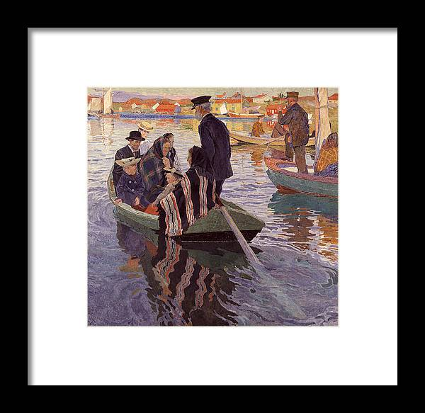Carl Wilhelmson Framed Print featuring the painting Church-goers In A Boat by Carl Wilhelmson
