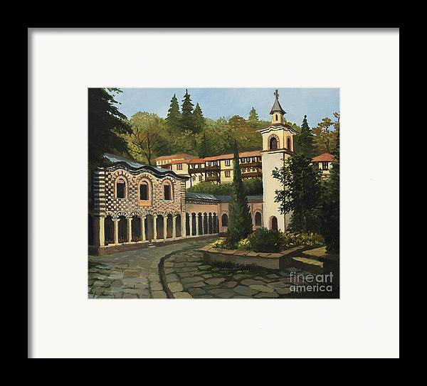 Arch Framed Print featuring the painting Church In Blagoevgrad by Kiril Stanchev