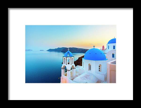 Archipelago Framed Print featuring the photograph Church In Oia On Santorini Island by Spooh