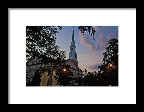 Savannah Georgia Framed Print featuring the photograph Church In Savannah by John McGraw
