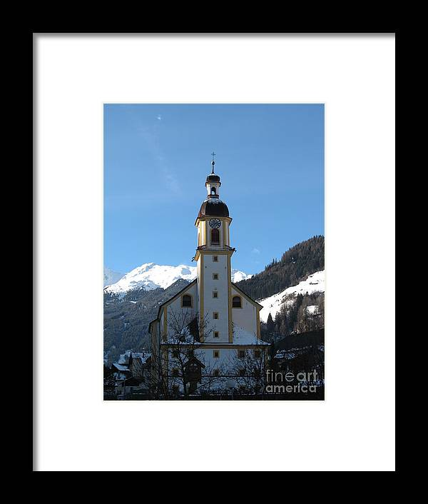 Church Framed Print featuring the photograph Church In The Austrian Alps by Christiane Schulze Art And Photography