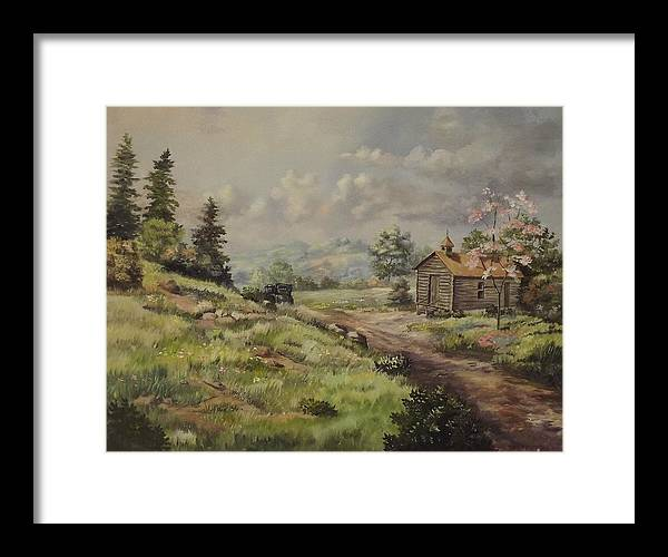 Landscape Framed Print featuring the painting Church In The Ozarks by Wanda Dansereau