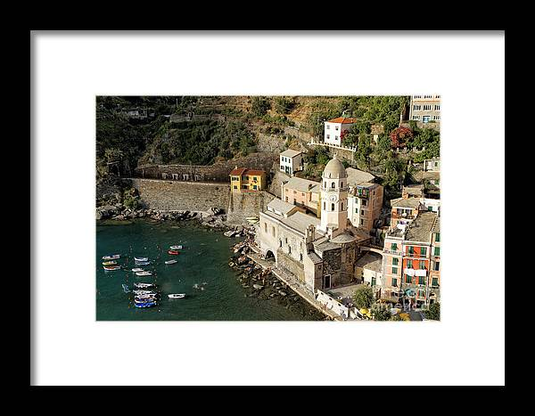 Cinque Terre Framed Print featuring the photograph Church In Vernazza by George Oze