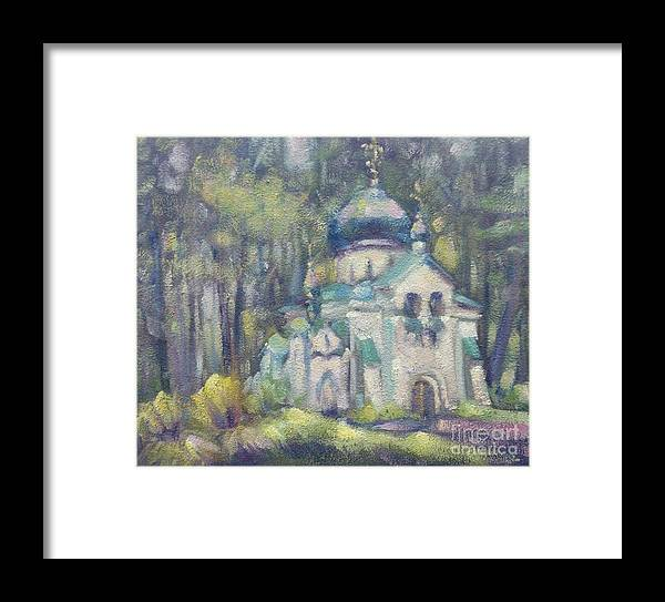 Landscape Framed Print featuring the painting Church Of Our Saviour. Abramtsevo. Sketch by Ivan KRUTOYAROV