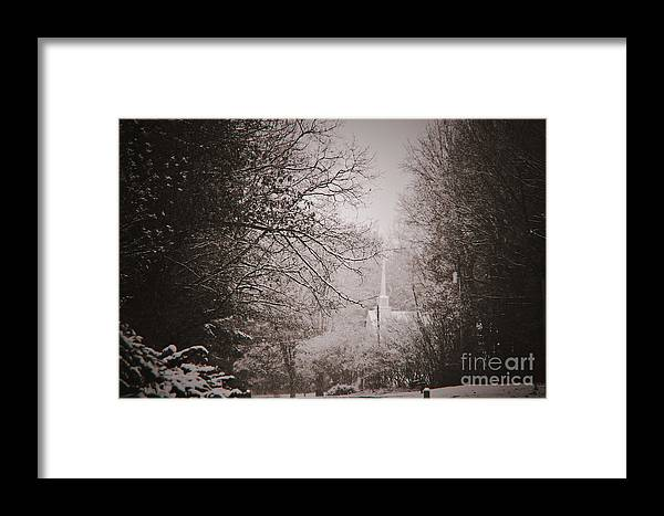 Church Framed Print featuring the photograph Church Steeple In The Snow by Debra Crank