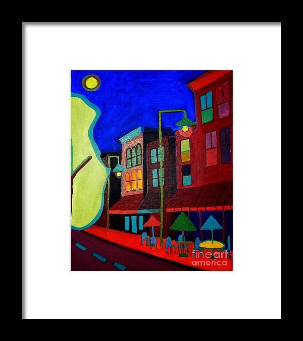 Landscape Framed Print featuring the painting Church Street Cafe Burlington VT by Debra Bretton Robinson