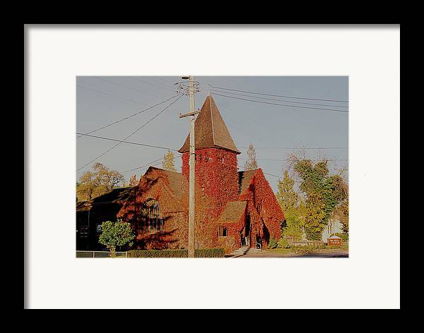Red Framed Print featuring the photograph Church Vines by Trent Mallett