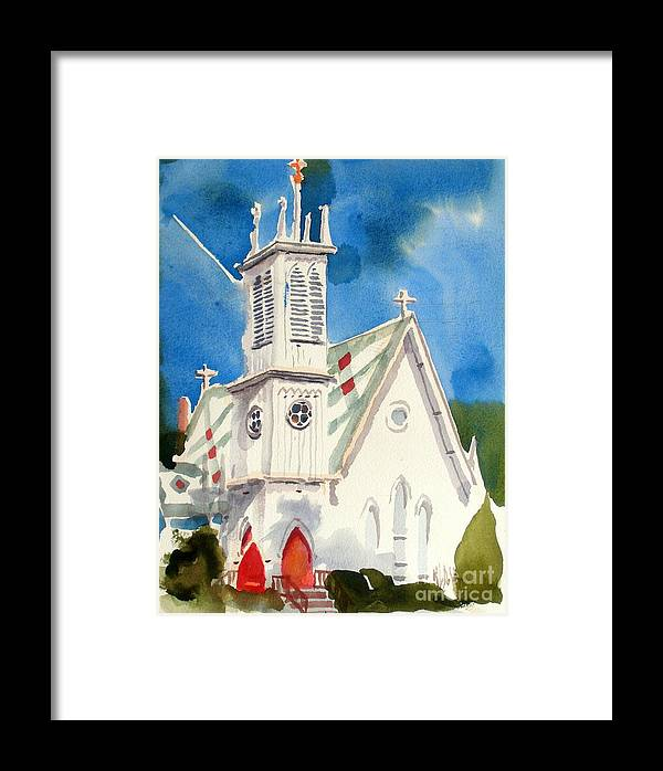 Church Framed Print featuring the painting Church With Jet Contrail by Kip DeVore
