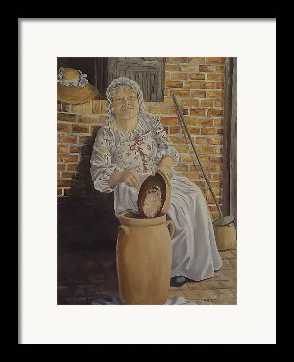Historic Framed Print featuring the painting Churning Butter by Wanda Dansereau