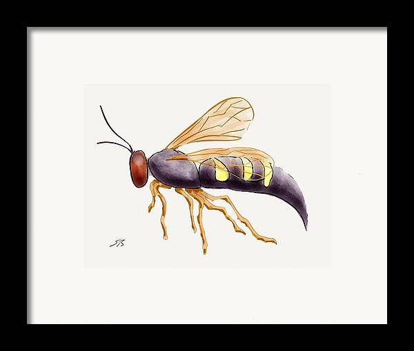 Wasp.insect Framed Print featuring the digital art Cicada Killer Wasp by Stacy C Bottoms