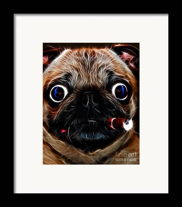 Animal Framed Print featuring the photograph Cigar Puffing Pug - Electric Art by Wingsdomain Art and Photography