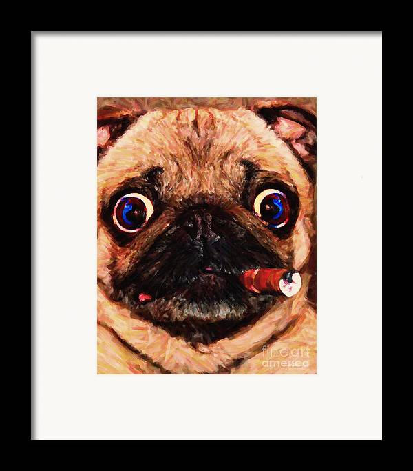 Animal Framed Print featuring the photograph Cigar Puffing Pug - Painterly by Wingsdomain Art and Photography