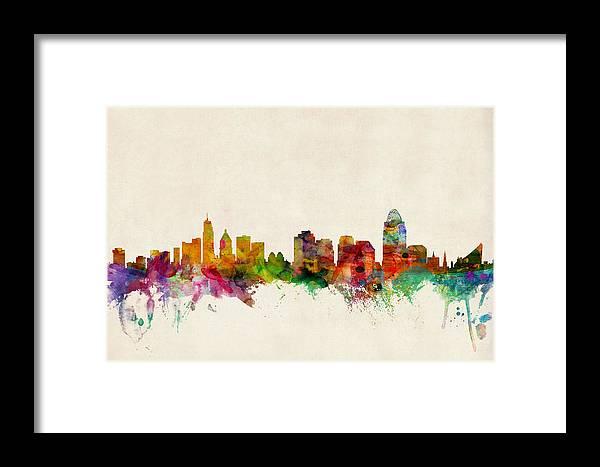 Watercolour Framed Print featuring the digital art Cincinnati Ohio Skyline by Michael Tompsett