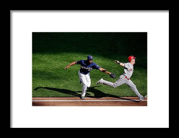American League Baseball Framed Print featuring the photograph Cincinnati Reds V Milwaukee Brewers by Jon Durr
