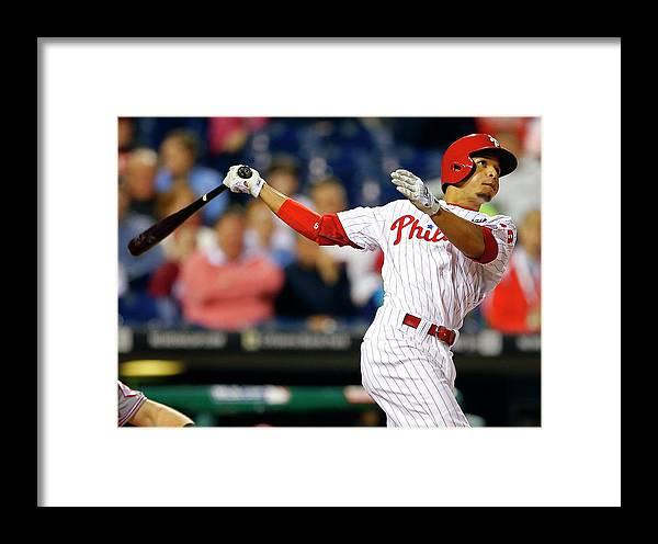 Citizens Bank Park Framed Print featuring the photograph Cincinnati Reds V Philadelphia Phillies by Rich Schultz