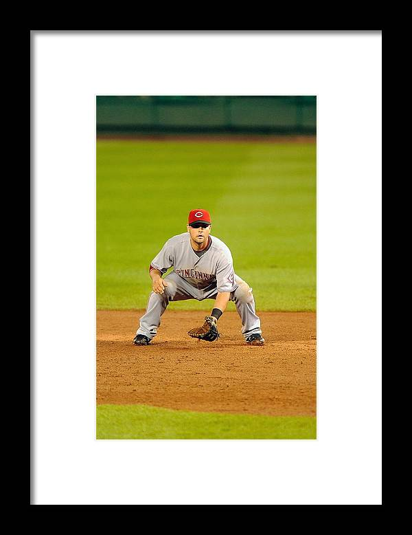 Sports Ball Framed Print featuring the photograph Cincinnati Reds v Washington Nationals by Mitchell Layton