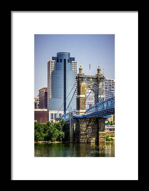 2012 Framed Print featuring the photograph Cincinnati Scripps Building And Roebling Bridge by Paul Velgos
