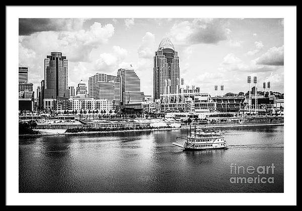 Cincinnati Skyline and Riverboat Black and White Picture by Paul Velgos