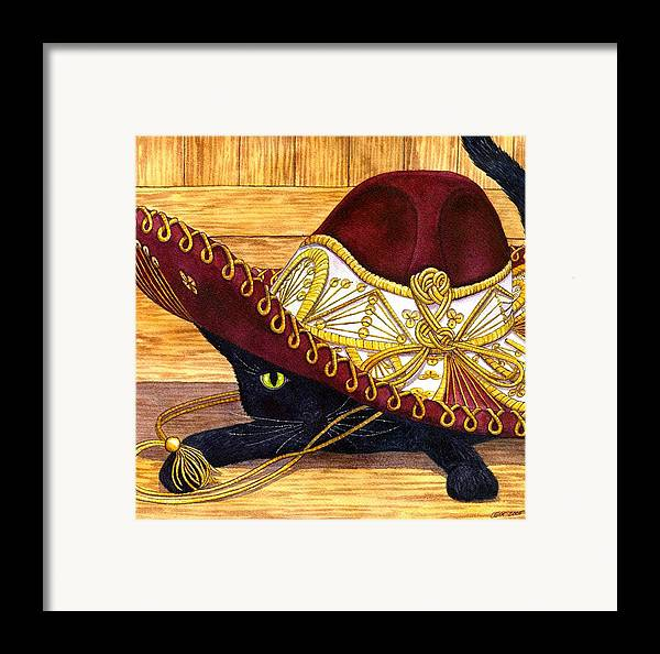 Cat Framed Print featuring the painting Cinco De Mayo by Catherine G McElroy