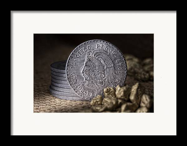 Cash Framed Print featuring the photograph Cinco Pesos Still Life by Tom Mc Nemar