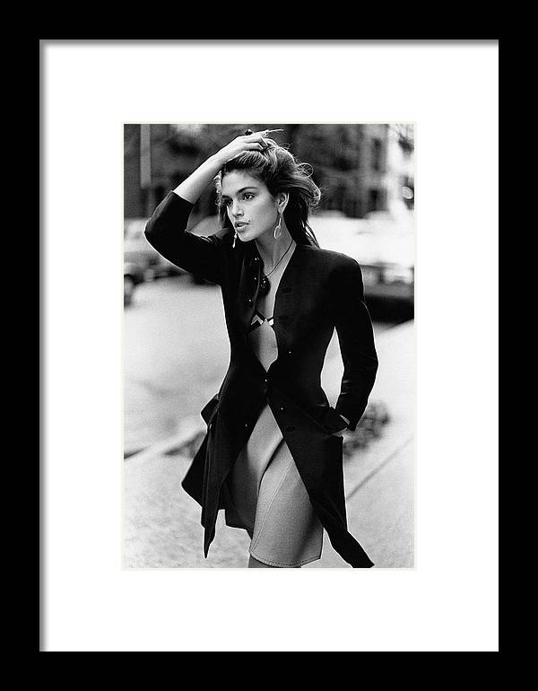 Accessories Framed Print featuring the photograph Cindy Crawford Wearing A Wool Coat Over A Slip by Arthur Elgort