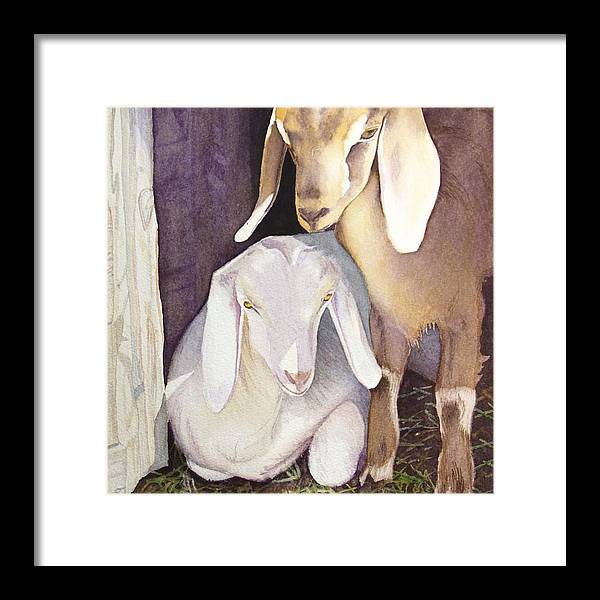 Goats Framed Print featuring the painting Cinnamon And Sugar by Amanda Schuster