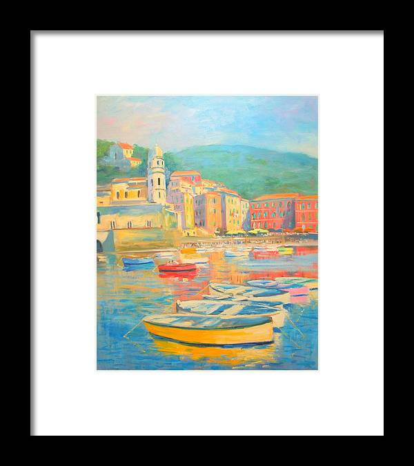 Framed Print featuring the painting Cinqueterre- Vernazza by Nino Pippa