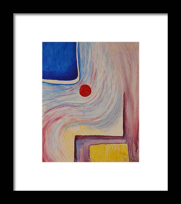 Abstract Framed Print featuring the painting Circle and Corner by David Douthat