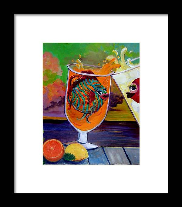 Citrus Art Framed Print featuring the painting Citrus Sunset by Linda Kegley