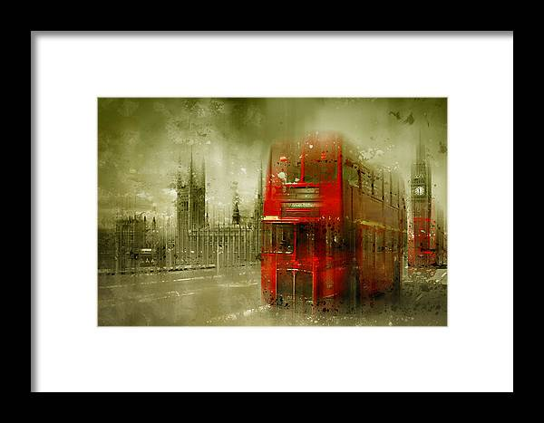 British Framed Print featuring the photograph City-art London Red Buses by Melanie Viola