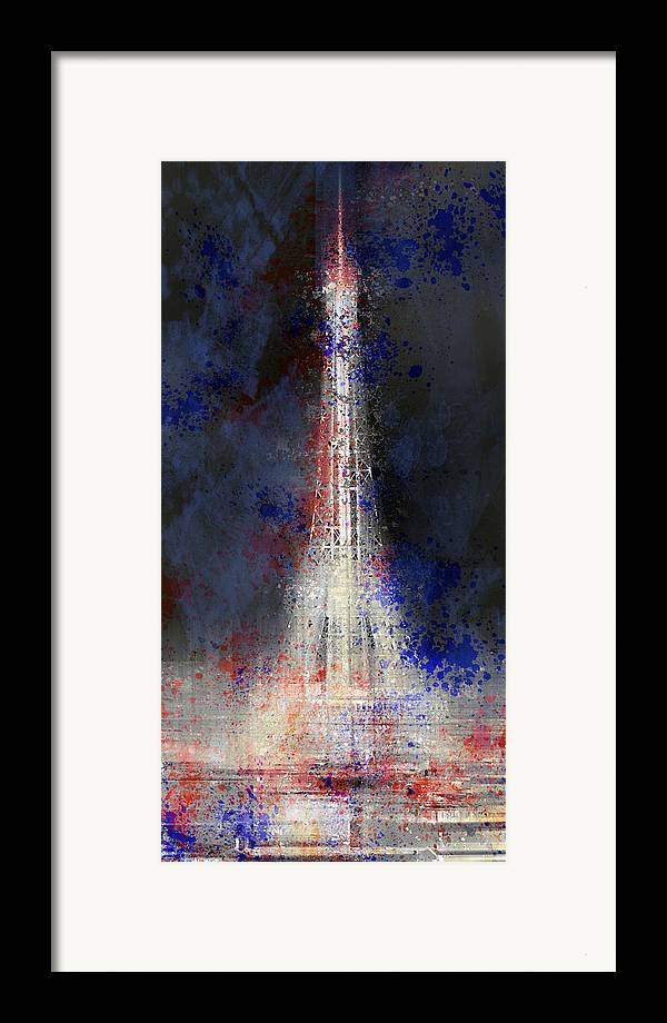 Europe Framed Print featuring the photograph City-art Paris Eiffel Tower In National Colours by Melanie Viola