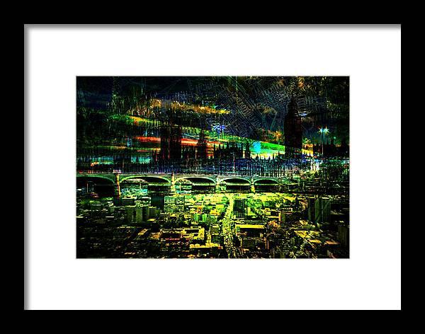 Framed Print featuring the digital art City Art Shine Dawn by Mary Clanahan