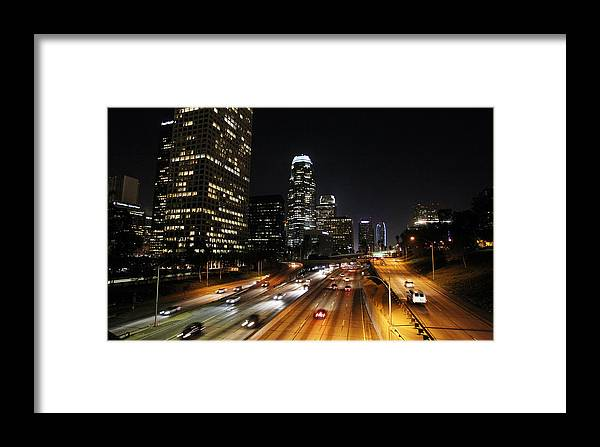 Los Angeles Framed Print featuring the photograph City At Night - Los Angeles by David Buchan