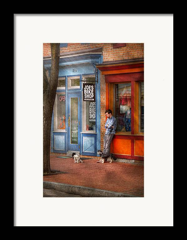 Baltimore Framed Print featuring the photograph City - Baltimore Md - Waiting By Joe's Bike Shop by Mike Savad