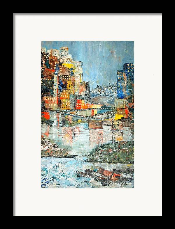 Cityscape Framed Print featuring the painting City By The River - Sold by Judith Espinoza