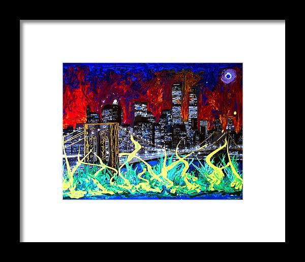 Skyline Framed Print featuring the painting City Escape By Darryl Kravitz by Darryl Kravitz